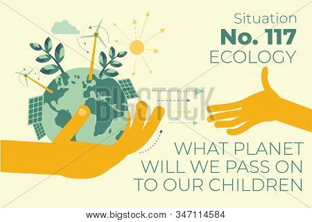 Ecological illustration. In hands of man planet Earth.  Alternative types of energy. Modern eco friendly technologies, solar battery, wind generator, Eco city, waste disposal. ECO activist. Green. stock photo