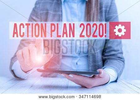 Word writing text Action Plan 2020. Business concept for proposed strategy or course of actions for current year Business concept with communication mobile phone. stock photo