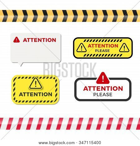 Attention signs set. Caution alert symbols collection. Exclamation vector illustration stock photo