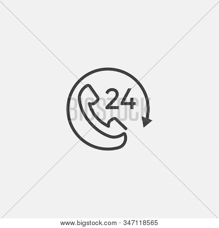 Call 24 icon vector illustration, 24 hour call service, Twenty four hour service flat design, 24h Support Simple Design, All day customer support call center icon, Telephone support 24 hours symbol stock photo
