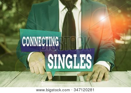 Word writing text Connecting Singles. Business concept for online dating site for singles with no hidden fees Businessman in blue suite with a tie holds lap top in hands. stock photo