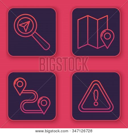 Set line Search location, Route location, Folded map with location marker and Exclamation mark in triangle. Blue square button. Vector stock photo
