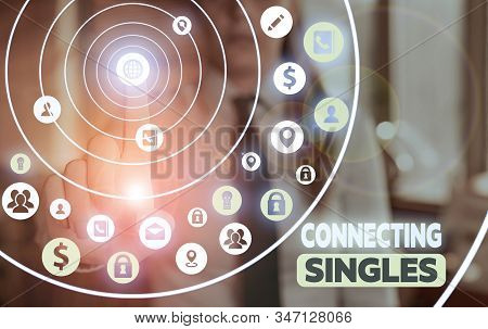 Conceptual hand writing showing Connecting Singles. Business photo showcasing online dating site for singles with no hidden fees. stock photo