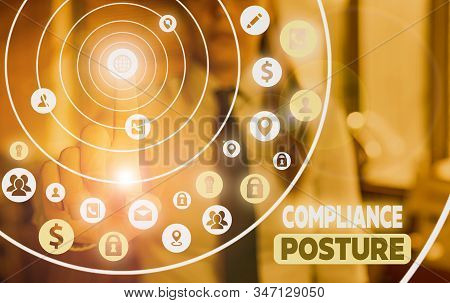 Conceptual hand writing showing Compliance Posture. Business photo showcasing analysisage the defense of enterprise and assure resources. stock photo