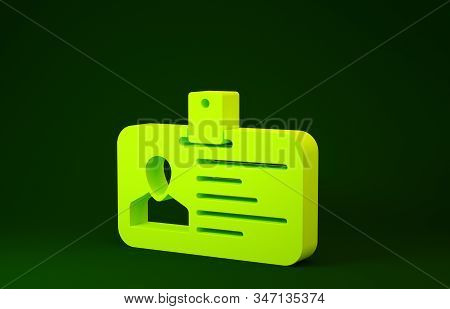 Yellow Identification badge icon isolated on green background. It can be used for presentation, identity of the company, advertising. Minimalism concept. 3d illustration 3D render stock photo