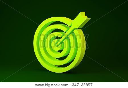 Yellow Target with arrow icon isolated on green background. Dart board sign. Archery board icon. Dartboard sign. Business goal concept. Minimalism concept. 3d illustration 3D render stock photo