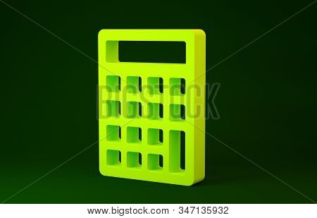 Yellow Calculator icon isolated on green background. Accounting symbol. Business calculations mathematics education and finance. Minimalism concept. 3d illustration 3D render stock photo