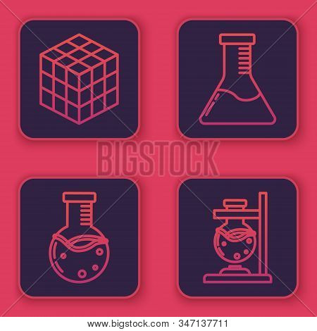 Set line Rubik cube, Test tube and flask chemical laboratory, Test tube and flask chemical laboratory and Glass test tube flask on fire. Blue square button. Vector stock photo