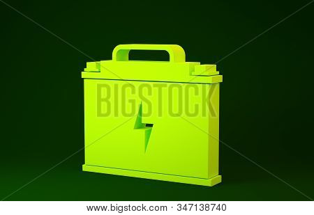 Yellow Car battery icon isolated on green background. Accumulator battery energy power and electricity accumulator battery. Lightning bolt. Minimalism concept. 3d illustration 3D render stock photo
