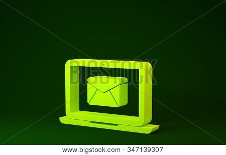Yellow Laptop with envelope and open email on screen icon isolated on green background. Email marketing, internet advertising concepts. Minimalism concept. 3d illustration 3D render stock photo