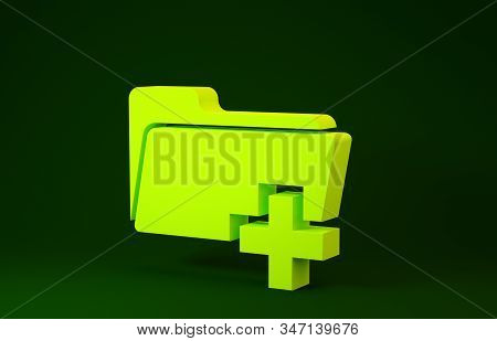 Yellow Add new folder icon isolated on green background. New folder file sign. Copy document icon. Add attach create folder make new plus icon. Minimalism concept. 3d illustration 3D render stock photo