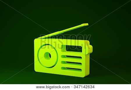Yellow Radio with antenna icon isolated on green background. Minimalism concept. 3d illustration 3D render stock photo