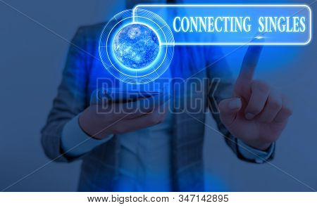 Word writing text Connecting Singles. Business concept for online dating site for singles with no hidden fees Elements of this image furnished by NASA. stock photo