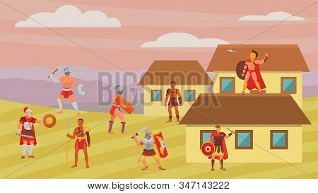 Group of gladiators warriors fighters in armor battle vector illustration flat. Greek roman ancient historical character man weapons. Cold steel arms, shields. Greece or Rome. stock photo