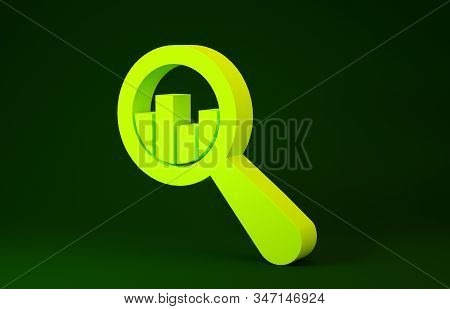 Yellow Magnifying glass and data analysis icon isolated on green background. Minimalism concept. 3d illustration 3D render stock photo