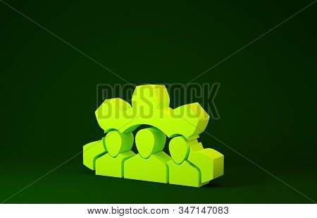 Yellow Project team base icon isolated on green background. Business analysis and planning, consulting, team work, project management. Minimalism concept. 3d illustration 3D render stock photo