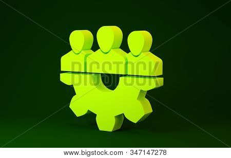 Yellow Project team base icon isolated on green background. Business analysis and planning, consulting, team work, project management. Developers. Minimalism concept. 3d illustration 3D render stock photo