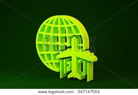 Yellow Globe with flying plane icon isolated on green background. Airplane fly around the planet earth. Aircraft world icon. Minimalism concept. 3d illustration 3D render stock photo
