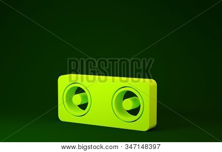 Yellow Stereo speaker icon isolated on green background. Sound system speakers. Music icon. Musical column speaker bass equipment. Minimalism concept. 3d illustration 3D render stock photo
