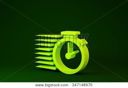Yellow Stopwatch icon isolated on green background. Time timer sign. Minimalism concept. 3d illustration 3D render stock photo