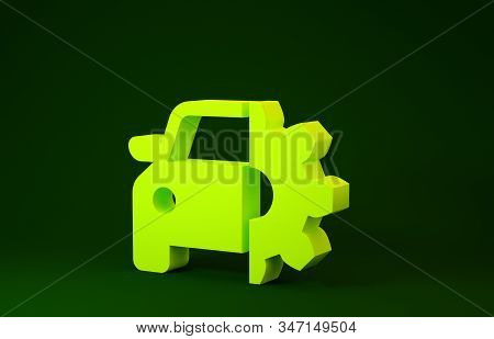 Yellow Car service icon isolated on green background. Auto mechanic service. Mechanic service. Repair service auto mechanic. Maintenance sign. Minimalism concept. 3d illustration 3D render stock photo