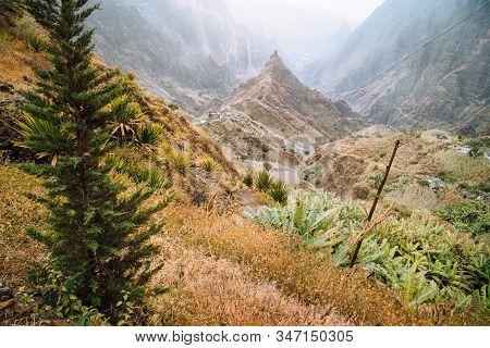 Santo Antao, Cape Verde. Hiking outdoor activity on trail path of Xo-Xo valley with scenic impressive landscape stock photo
