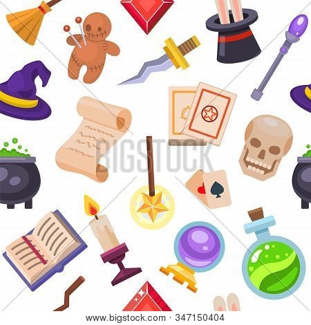 Magic fantasy tools set collection vector illustration seamless pattern. Mystery fairytale circus illusion carnival magic show. Magic wand, skull, scroll, hat, rabbit, doll, pot, candle background. stock photo
