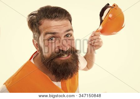 Engineering career concept. Architect builder engineer. Man engineer protective uniform white background. After long working day. Construction industry. Bearded brutal hipster safety engineer. stock photo