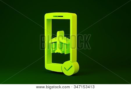 Yellow Flight mode in the mobile phone icon isolated on green background. Airplane or aeroplane flight offline mode passenger regulation airline . Minimalism concept. 3d illustration 3D render stock photo