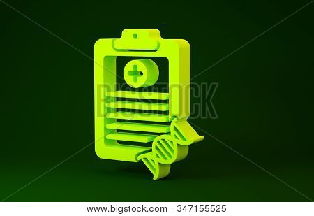 Yellow Clipboard with DNA analysis icon isolated on green background. Genetic engineering, genetics testing, cloning, paternity testing. Minimalism concept. 3d illustration 3D render stock photo