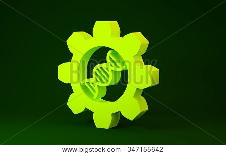 Yellow Genetic engineering icon isolated on green background. DNA analysis, genetics testing, cloning, paternity testing. Minimalism concept. 3d illustration 3D render stock photo