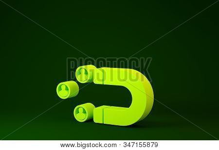 Yellow Customer attracting icon isolated on green background. Customer retention, support and service. Customer people attracting with magnet. Minimalism concept. 3d illustration 3D render stock photo