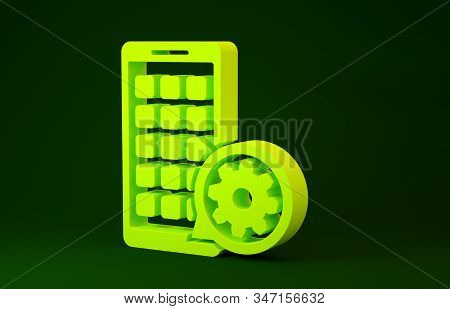Yellow Mobile Apps and gear icon isolated on green background. Adjusting app, service concept, setting options, maintenance, repair, fixing. Minimalism concept. 3d illustration 3D render stock photo