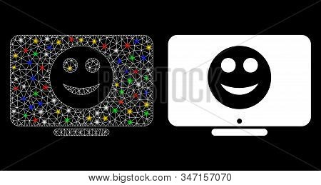 Glossy mesh display smile icon with lightspot effect. Abstract illuminated model of display smile. Shiny wire frame triangular mesh display smile icon. Vector abstraction on a black background. stock photo