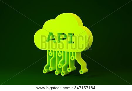 Yellow Cloud api interface icon isolated on green background. Application programming interface API technology. Software integration. Minimalism concept. 3d illustration 3D render stock photo