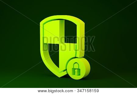 Yellow Shield security with lock icon isolated on green background. Protection, safety, password security. Firewall access privacy sign. Minimalism concept. 3d illustration 3D render stock photo
