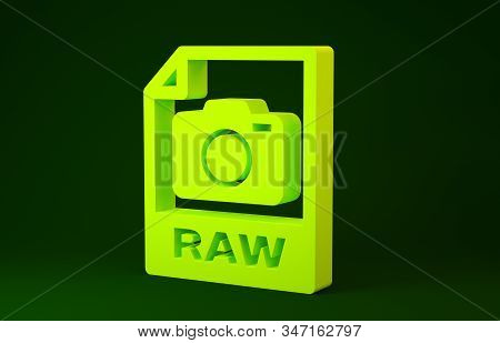 Yellow RAW file document. Download raw button icon isolated on green background. RAW file symbol. Minimalism concept. 3d illustration 3D render stock photo