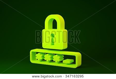 Yellow Password protection and safety access icon isolated on green background. Lock icon. Security, safety, protection, privacy concept. Minimalism concept. 3d illustration 3D render stock photo