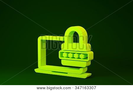 Yellow Laptop with password notification and lock icon isolated on green background. Security, personal access, user authorization, login form. Minimalism concept. 3d illustration 3D render stock photo