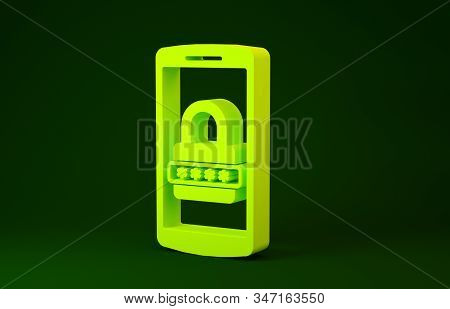 Yellow Mobile phone and password protection icon isolated on green background. Security, safety, personal access, user authorization, privacy. Minimalism concept. 3d illustration 3D render stock photo