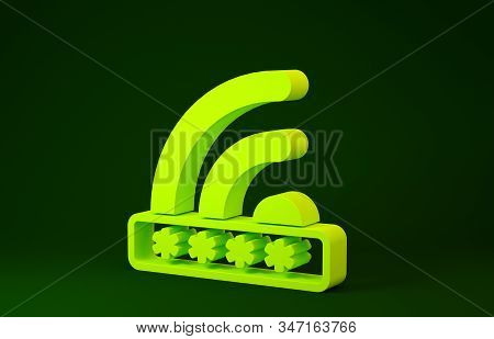 Yellow Wifi locked sign icon isolated on green background. Password wi-fi symbol. Wireless Network icon. Wifi zone. Limited access. Minimalism concept. 3d illustration 3D render stock photo