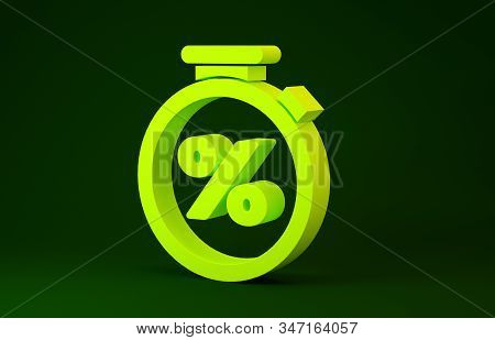 Yellow Stopwatch and percent discount icon isolated on green background. Time timer sign. Minimalism concept. 3d illustration 3D render stock photo