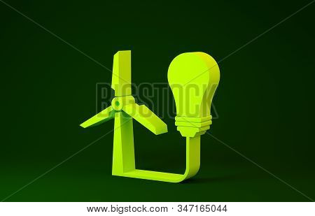 Yellow Light bulb with wind turbine as idea of eco friendly source of energy icon isolated on green background. Alternative energy concept. Minimalism concept. 3d illustration 3D render stock photo