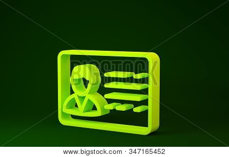 Yellow Identification badge line icon isolated on green background. It can be used for presentation, identity of the company, advertising. Minimalism concept. 3d illustration 3D render stock photo