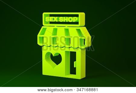 Yellow Sex shop building with striped awning icon isolated on green background. Sex shop, online sex store, adult erotic products concept. Minimalism concept. 3d illustration 3D render stock photo