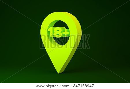 Yellow Map pointer with 18 plus icon isolated on green background. Age restriction symbol. 18 plus content sign. Adults content only icon. Minimalism concept. 3d illustration 3D render stock photo
