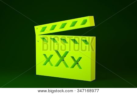 Yellow Movie clapper with inscription XXX icon isolated on green background. Age restriction symbol. 18 plus content sign. Adult channel. Minimalism concept. 3d illustration 3D render stock photo
