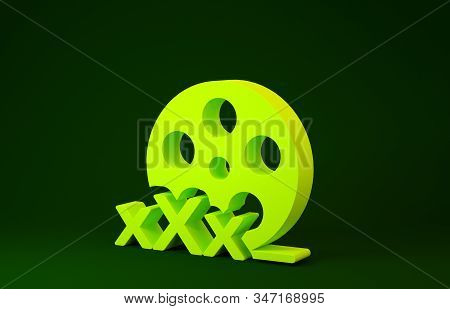 Yellow Film reel with inscription XXX icon isolated on green background. Age restriction symbol. 18 plus content sign. Adult channel. Minimalism concept. 3d illustration 3D render stock photo