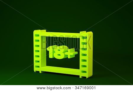 Yellow Play Video with inscription 18 plus icon isolated on green background. Age restriction symbol. 18 plus content sign. Adult channel. Minimalism concept. 3d illustration 3D render stock photo