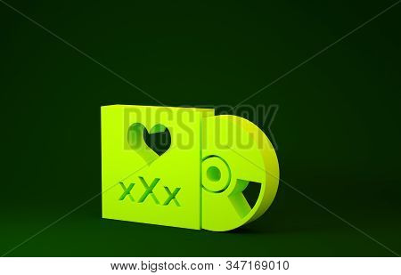 Yellow Disc with inscription XXX icon isolated on green background. Age restriction symbol. 18 plus content sign. Adult channel. Minimalism concept. 3d illustration 3D render stock photo